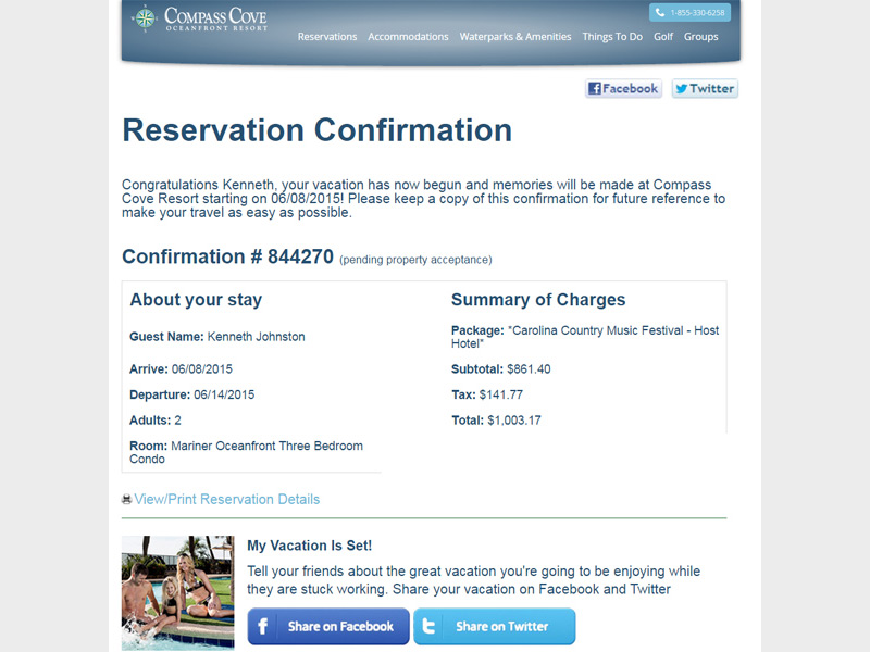 Compass Cove Reservation Confirmation